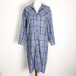Vintage 80s Size 14 XL Shirt Midi Dress Blue Plaid